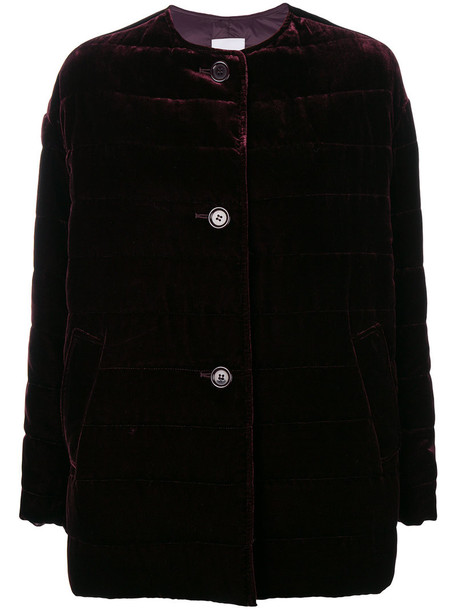 ASPESI coat women silk velvet purple pink