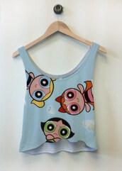 tank top,the powerpuff girls,blue,girly,light blue,sleeveless,crop tops,top