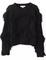 Black long sleeve tassel crop knit sweater