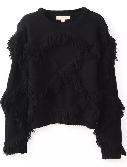 Black long sleeve tassel crop knit sweater