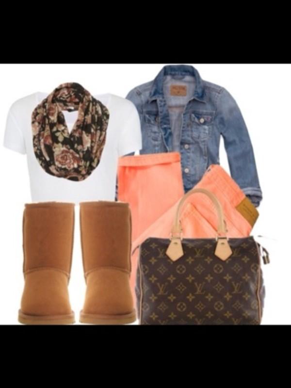 shirt scarf jacket jeans bag shoes