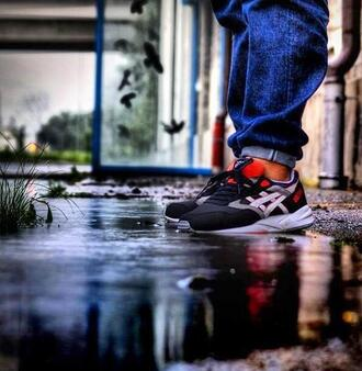 shoes red asics 36 black sneakers