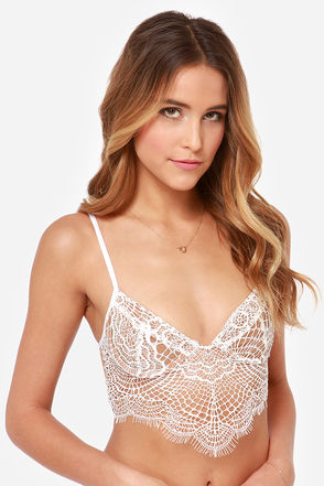 For Love & Lemons Bat Your Lashes - White Bra - Underwire Bra - $117.00