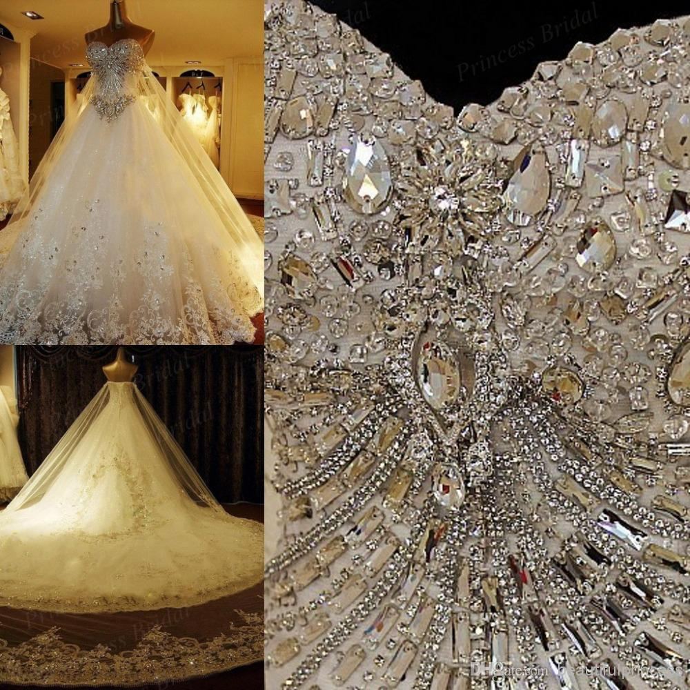 Discount amazing 2014 luxury wedding gowns bride dresses crystals online with $256.34/piece