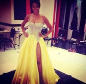 dress,claudia jordan,yellow,prom,sequins,sherri hill,miss universe