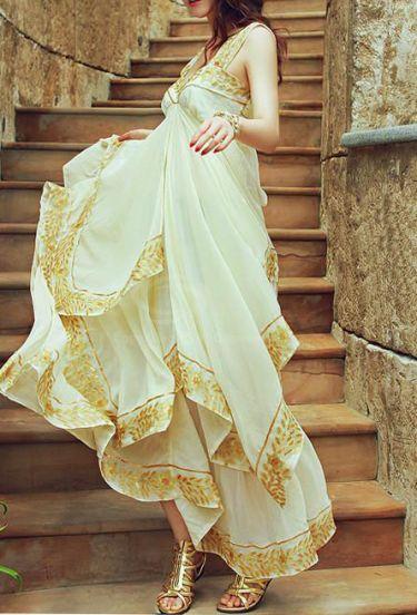 Beige Spaghetti Strap Embroidery Cascading Chiffon Dress
