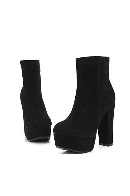Vintage Zipped Block Heel Ankle Boots - OASAP.com