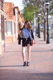 platforms for breakfast,blogger,denim shirt,skorts,lace-up shoes