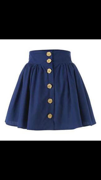 buttons navy blue skirt