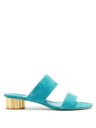 heel sandals suede green shoes