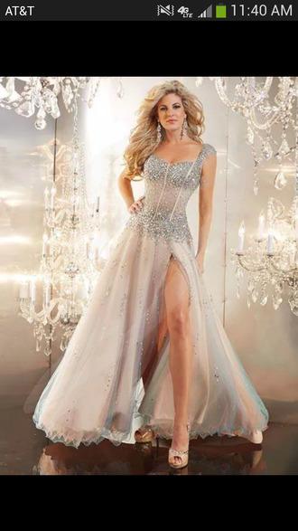 glitter dress sequins sparkly diamonds sparkles flowy dress silver long dress slit grad dress beaded prom shoes high heels wedges
