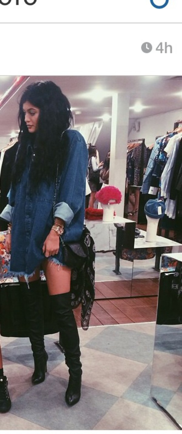 jacket kylie jenner shoes shirt denim shirt oversized