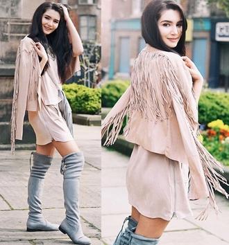 jacket suede nude beige fringe style fashion boho summer
