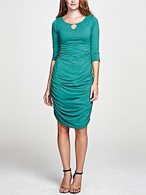 HotSquash Thinheat gold bar ruched dress Emerald Green - House of Fraser