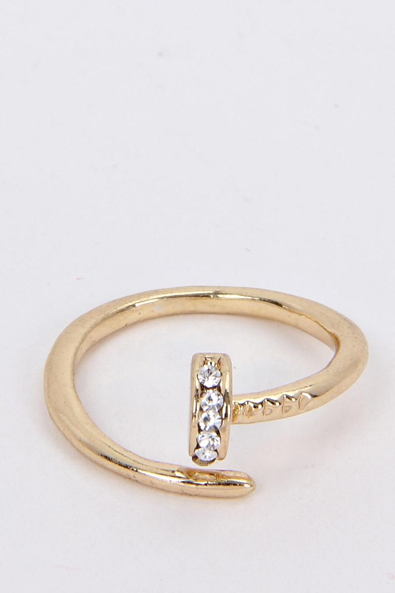 Crystal Nail Midi Ring