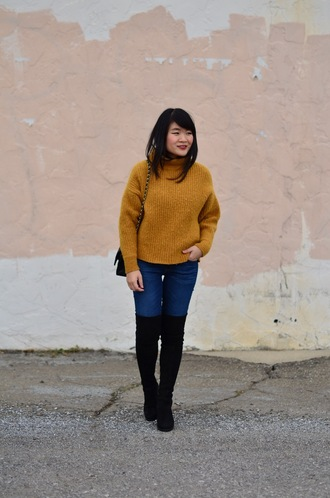 daily disguise blogger sweater jeans shoes yellow sweater boots black boots over the knee boots fall outfits