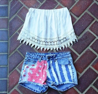 top tube too tube top fringe tube top fringe too fringed top cute fringe american shirts american shorts american print shorts tube tops fringes high waisted bikini high waisted jeans high waisted shorts