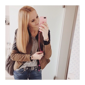 jacket brown leather girl jeans coat black leather leather jacket black leather jacket brown leather black instagram who is this person? beige grey top belt who blonde hair