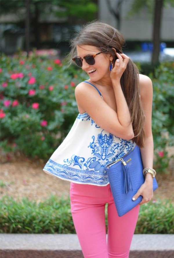 blouse j crew bag pants top blue shirt blue white blue and white design cute cute top pretty summer outfits summer top shirt