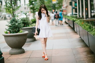 themiddlecloset blogger dress jewels bag pumps chanel bag white dress mini dress
