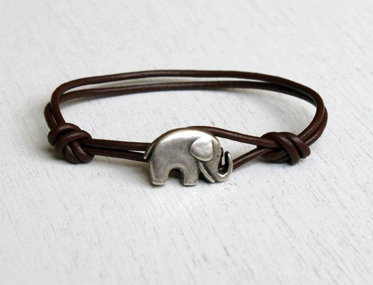 Elephant Leather Bracelet (many colors to choose)
