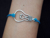 jewels,bracelets,jewelry,bulb bracelet,blue leather bracelet,single bracelet,silver bracelet
