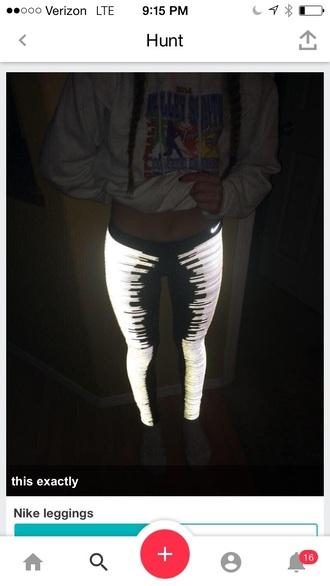 tights black reflective leggings