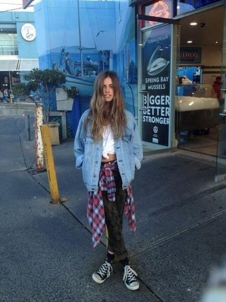 Jacket denim flannel shirt grunge tumblr cute vans ...