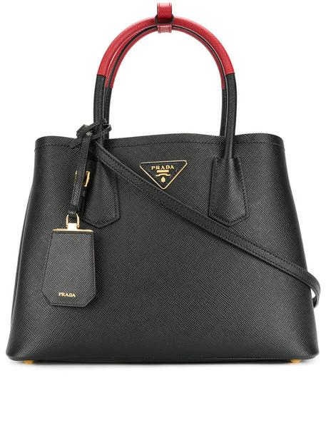 Prada - medium Double tote bag - women - Leather - One Size, Black, Leather