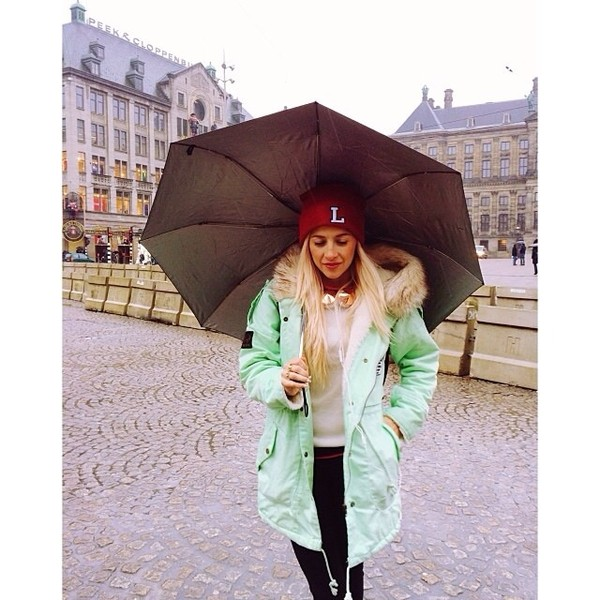 coat evelinas fashion cafe mint mint coat fur rainy coat