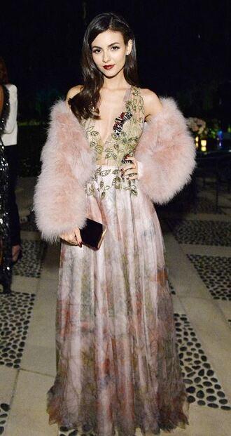dress gown prom dress fur fur jacket victoria justice maxi dress jacket