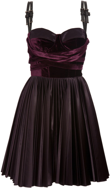 Versus Velvet Dress with Leather Straps in Purple | Lyst