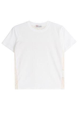 t-shirt shirt cotton t-shirt lace cotton white top