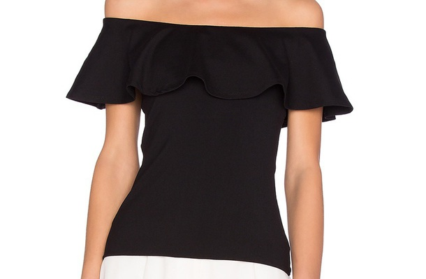 skirt black top ruffled top off the shoulder top formal