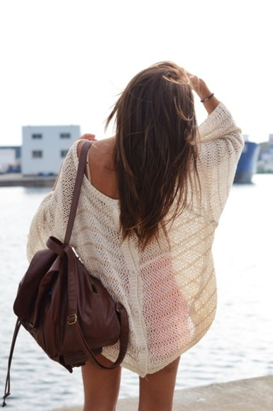 bag leather bag bagback brown sweater