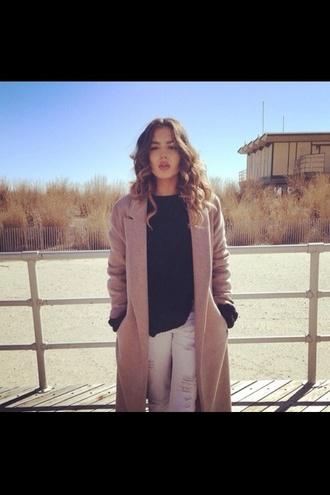 coat long coat pale pink classy