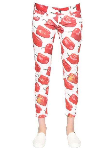 jeans denim cotton white red