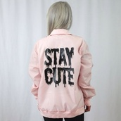 jacket,pink,pastel,pastel pink,stay cute,cute,kawaii,grunge,soft grunge,pastel goth,pastel grunge,creepy kawaii,light pink,black