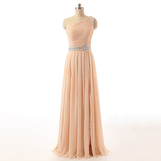 dress prom prom dress asymmetrical dress asymmetrical long dress maxi maxi dress one shoulder love lovely cute wow cute dress cream beige light ping super fashion bridesmaid sexy sexy dress trendy girly chiffon chiffon dress