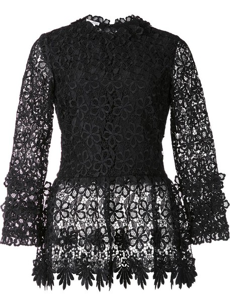 oscar de la renta blouse women lace floral black silk top