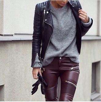 pants faux leather biker trousers biker bordeaux leather with zippers faux leather pants burgundy
