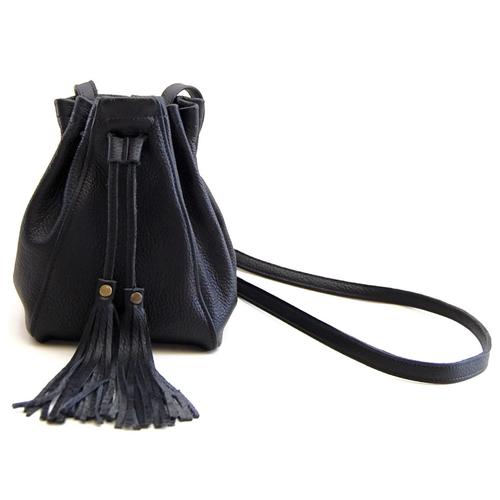 Pebbled Fringe Mini Bucket Bag