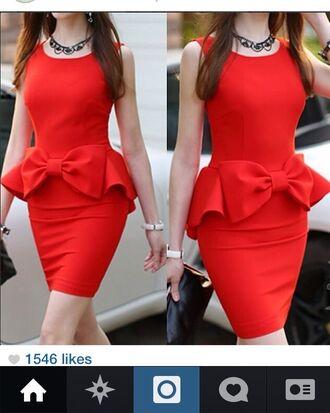 dress red dress red peplum peplum dress bow dress red peplum dress instagram party dress cocktail dresses summer dress watch purse necklace clutch