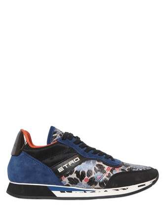 suede sneakers jacquard sneakers floral suede blue black shoes