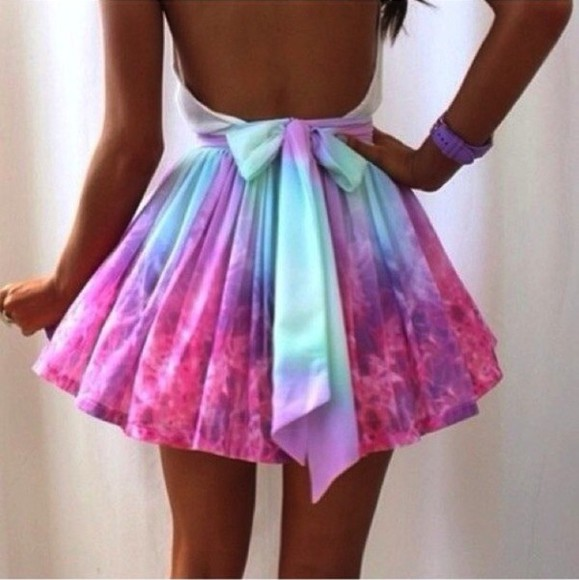 skirt bows colorful dress pink dress outer space love pink lovelystyle shirt rainbow rainbow dress tie dye backless backless dress colour universe av at sparklesboutique gorgeous love more girly girly outfits galaxy skirt celebrity tutu tutu skirt pink purple