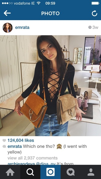 top emily ratajkowski nastygal revolve clothing black top lattice top lace up