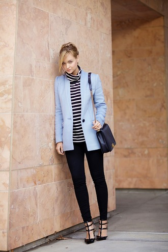 late afternoon blogger light blue blue coat striped sweater black pants valentino coat sweater pants shoes jewels bag