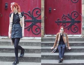 hannah louise fashion blogger t-shirt jacket skirt scarf shoes sunglasses