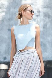 top,frayed top,crop tops,blue top,denim top,skirt,sunglasses,stripes,striped skirt,blue crop top,summerstyle