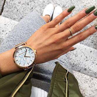 jewels tumblr gold watch watch nails fake nails nail polish dark nail polish ring